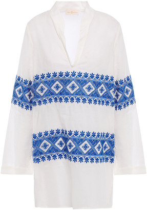 Tory Burch Embroidered Cotton-voile Top