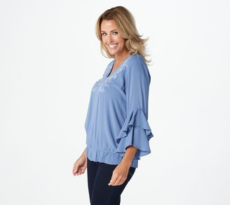 Haute Hippie Tribe 'Saidy' V-Neck Blouse with Ruffle Sleeve