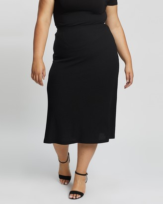 Atmos & Here Atmos&Here Curvy - Women's Black Midi Skirts - Sadie Knit Skirt - Size 24 at The Iconic