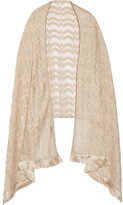 Missoni Fringed Embellished Metallic Crochet-knit Wrap - Beige