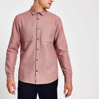 River Island Mens Light Pink textured regular fit shirt