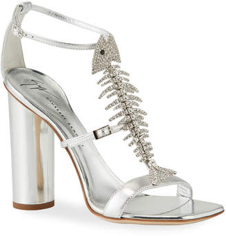 Giuseppe Zanotti Jeweled Fishbone Metallic Ankle-Strap Sandals