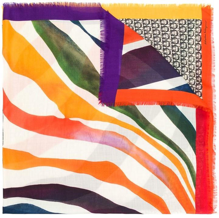 Salvatore Ferragamo printed waves Gancini scarf