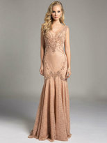 Lara Dresses - Embellished Sheer Trumpet Evening Gown 33229