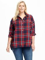 Old Navy Plaid Flannel Plus-Size Boyfriend Popover