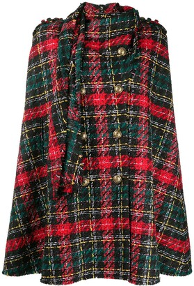 Balmain Tartan-Pattern Tweed Cape