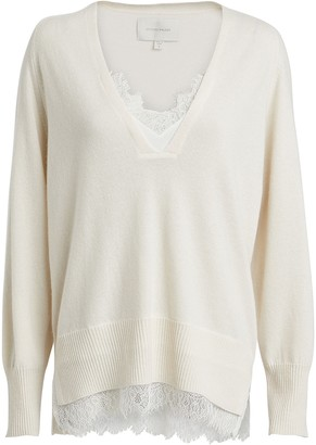 Brochu Walker Looker Lace-Trimmed Wool-Cashmere Sweater