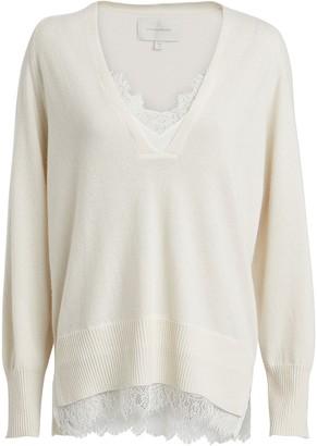 Brochu Walker Looker Lace-Trimmed Wool-Cashmere Sweater