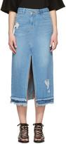 Sjyp Blue Destroyed Denim Skirt