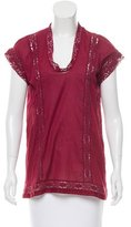 Etoile Isabel Marant Sleeveless Open Knit-Accented Top