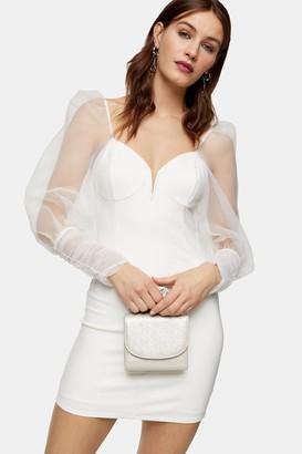 Topshop Womens Ivory Organza Sleeve Bodycon Mini Dress - Ivory