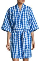 BedHead Gingham Short Kimono Robe, Navy