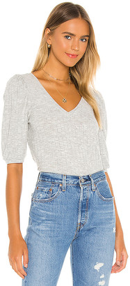 Chaser Cropped 3/4 Puff Sleeve V Neck Top