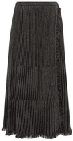 Diane von Furstenberg Brooklyn Metallic Ribbed Midi Skirt - Womens - Black