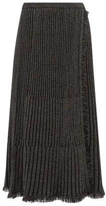 Diane von Furstenberg Brooklyn Metallic Ribbed Midi Skirt - Black