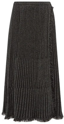 Diane von Furstenberg Brooklyn Metallic Ribbed Midi Skirt - Womens - Black