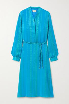 ZEUS + DIONE Hera Belted Silk-blend Jacquard Midi Dress - Bright blue