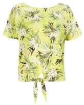 Wallis Petite Lemon Floral Tie Front Top