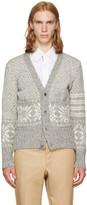 Thom Browne Grey Classic Snowflake Fair Isle V-neck Cardigan