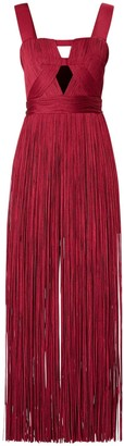 Herve Leger Flared Long Dress W/ Cut Outs
