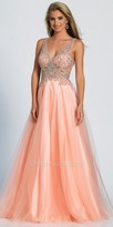 Dave and Johnny Enchanting A-line Crystal Beaded Evening Dress