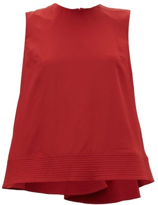 Roksanda Leya Quilted Hem Silk Georgette Trapeze Blouse - Womens - Red