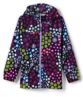 Lands' End Girls Navigator Pattern Rain Jacket-Silver