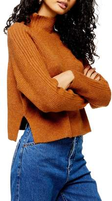 Topshop Long-Sleeve Knit Funnel Neck Sweater
