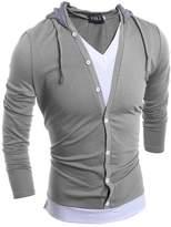 Taiduosheng New Men's V Neck Long Sleeve Hooded Casual Tops Light Grey