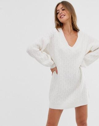 Asos Design DESIGN cable mini jumper dress with v neck-Cream