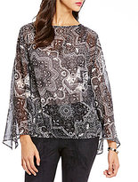 Daniel Cremieux Diem Round Neck Long Sleeve Printed Blouse
