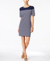 Karen Scott Petite Striped Sheath Dress, Created for Macy's
