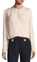 Veronica Beard Logan Surplus Long-Sleeve Silk Top, Blush