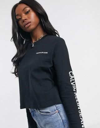 Calvin Klein Institutional long sleeved cropped logo t-shirt-Black