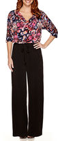 London Times Elbow-Sleeve Print Top Jumpsuit - Petite