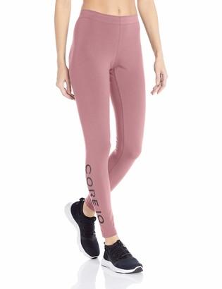 Core 10 Amazon Brand Standard Women's Workout Cotton-Blend Legging Mauve/Black Wrap Large