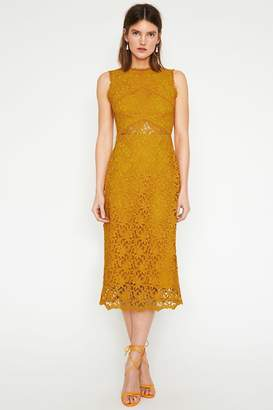 Warehouse Yellow Corded Lace Midi Dress