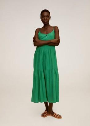 MANGO Ruffle gown green - 2 - Women