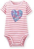 Carter's Baby Girl S/s Heart Appliqué Bodysuit; Red