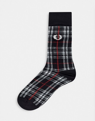 Fred Perry tartan socks with embroidered logo in black