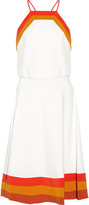 Milly Color-block pleated cady midi dress