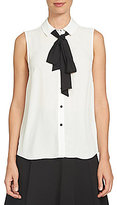 CeCe Tie-Neck Point Collar Sleeveless Blouse