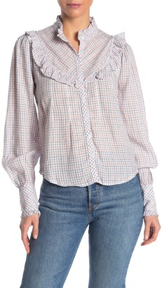 Faherty Brand Alma Ruffled Button Front Top
