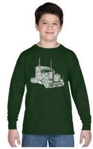 LA Pop Art Boy's Word Art Long Sleeve T-Shirt - Keep On Truckin'