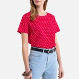 Benetton Floral Print Cotton Blouse with Short Sleeves