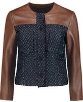Theory Tieron Jacquard And Leather Jacket