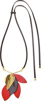 Marni Leather and metal leaf pendant necklace