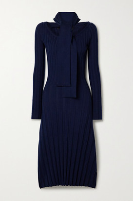 Rokh Paneled Ribbed Merino Wool Midi Dress - Midnight blue