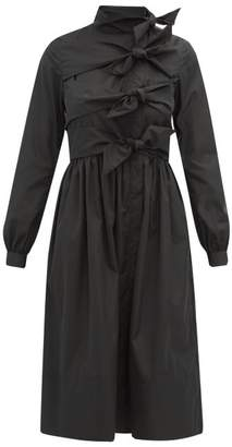 Molly Goddard Hester Bow Embellished Taffeta Coat Dress - Womens - Black
