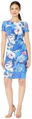 Adrianna Papell Floral Elbow Sleeve Side Draped Sheath Dress (Blue Multi) Women's Dress